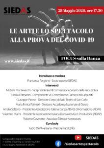 """""""Le arti e lo spettacolo alla prova del COVID-19"""", il nuovo appuntamento è con la danza"""