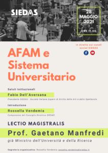 """""""AFAM e Sistema Universitario"""", la lectio magistralis del Professor Manfredi organizzata da SIEDAS"""